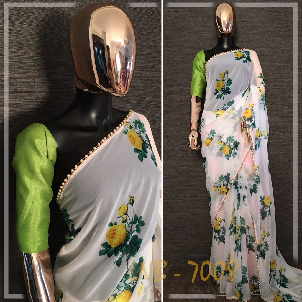 Cream With Yellow Rose Print Georgette Ladies Saree Online