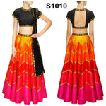 Multi Color Raw Silk Bollywood Indian Ghagra Choli ,Indian Dresses - 1