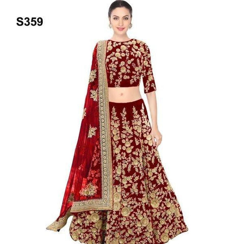 Maroon Velvet Bollywood Wedding Lehengas Online Dresses ,Indian Dresses - 1