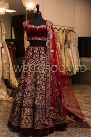 Maroon Malai Satin Embroidery  Wedding Lehengas Online With Price