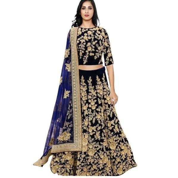 Trendy Dark Blue Indian Lehenga Choli For Wedding ,Indian Dresses - 1