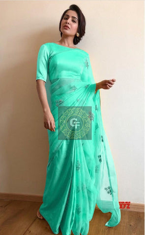 Sea Green Organza Embroidered Beautiful Latest Saree Blouse Online