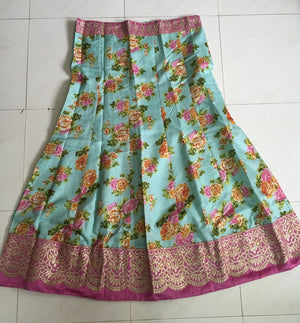 Green Pink Raw Silk Floral Printed Bollywood Lehenga Online ,Indian Dresses - 4