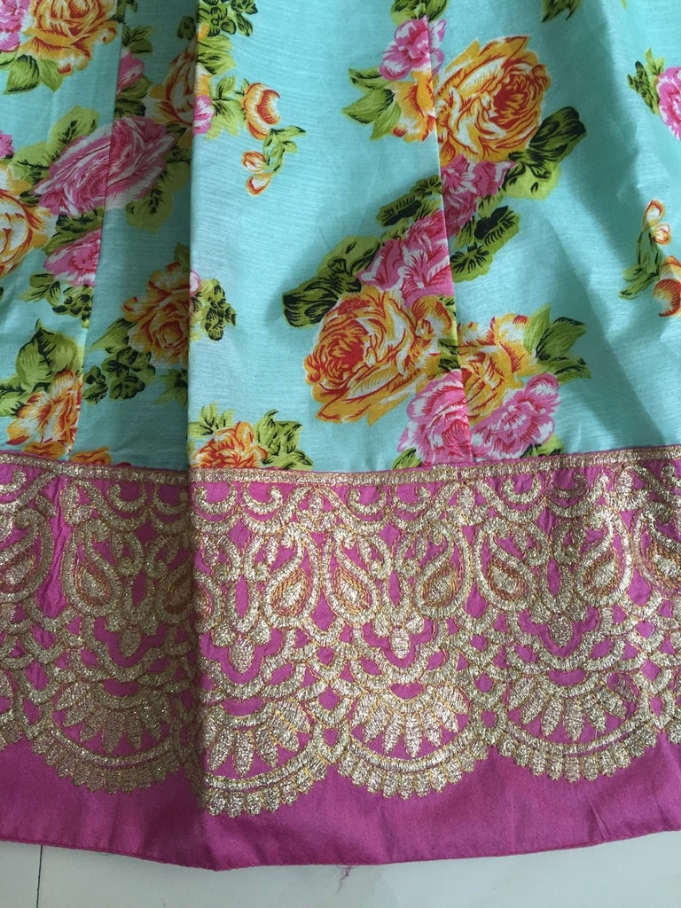 Green Pink Raw Silk Floral Printed Bollywood Lehenga Online ,Indian Dresses - 5