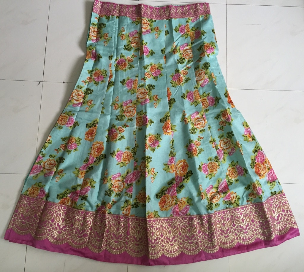 Green Pink Raw Silk Floral Printed Bollywood Lehenga Online ,Indian Dresses - 6