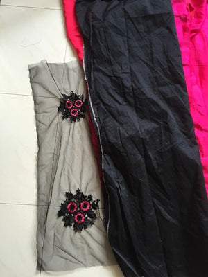 Rani Pink & Black Designer Party Wear Sarees Online ,Indian Dresses - 4