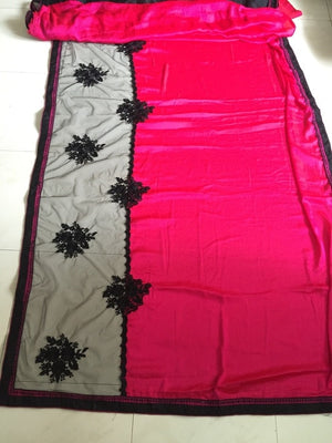 Rani Pink & Black Designer Party Wear Sarees Online ,Indian Dresses - 2