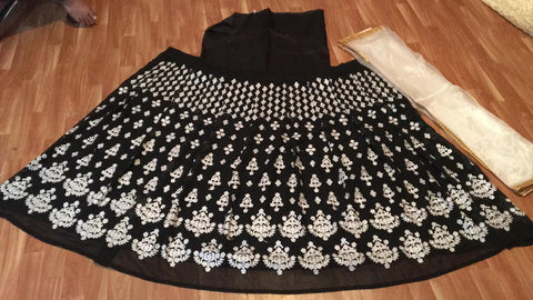 Black Georgette Embroidered New Lehenga Choli Designs Online