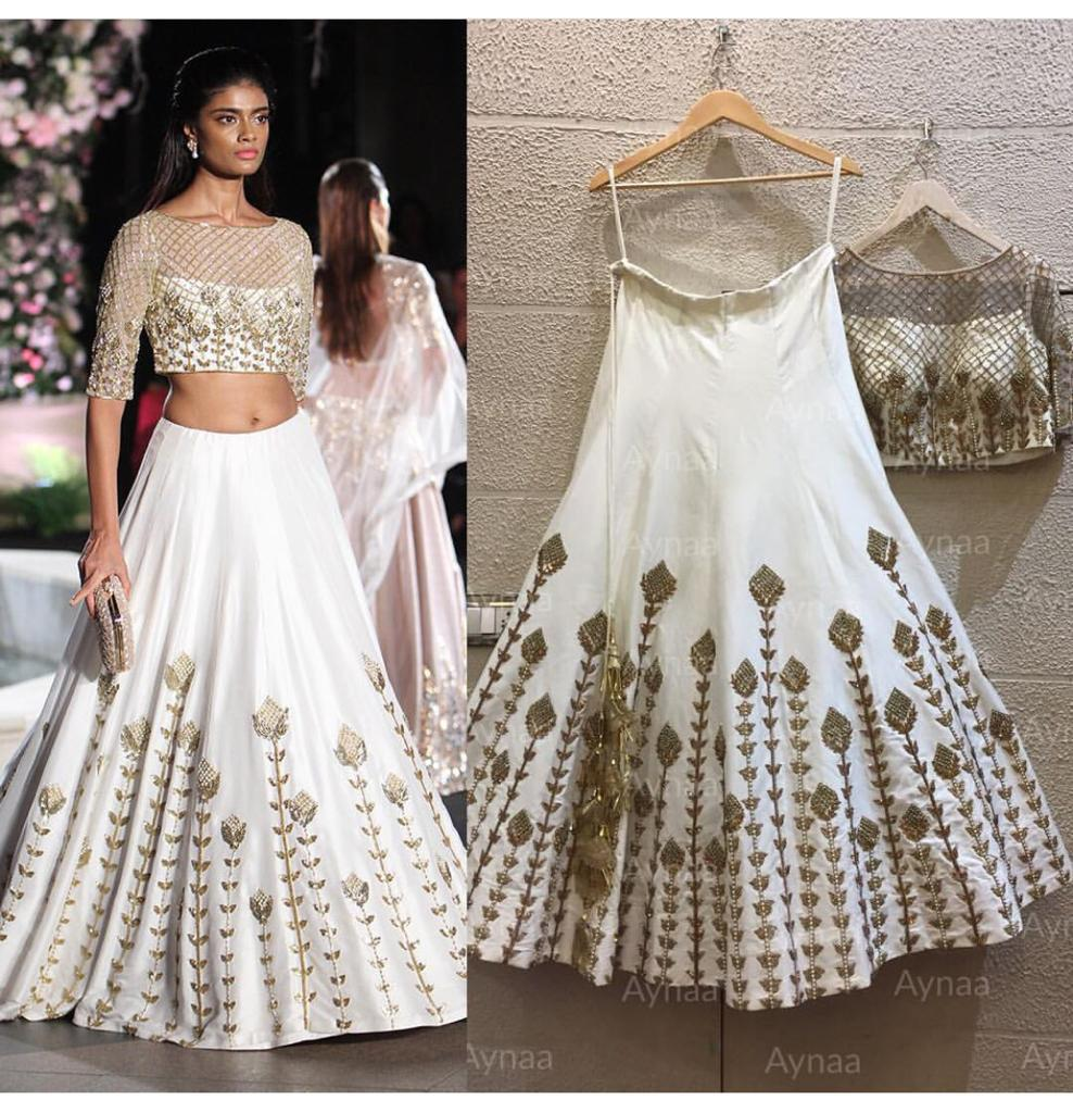 White Taffeta Silk Party Ghagra Choli Online Shopping With Price