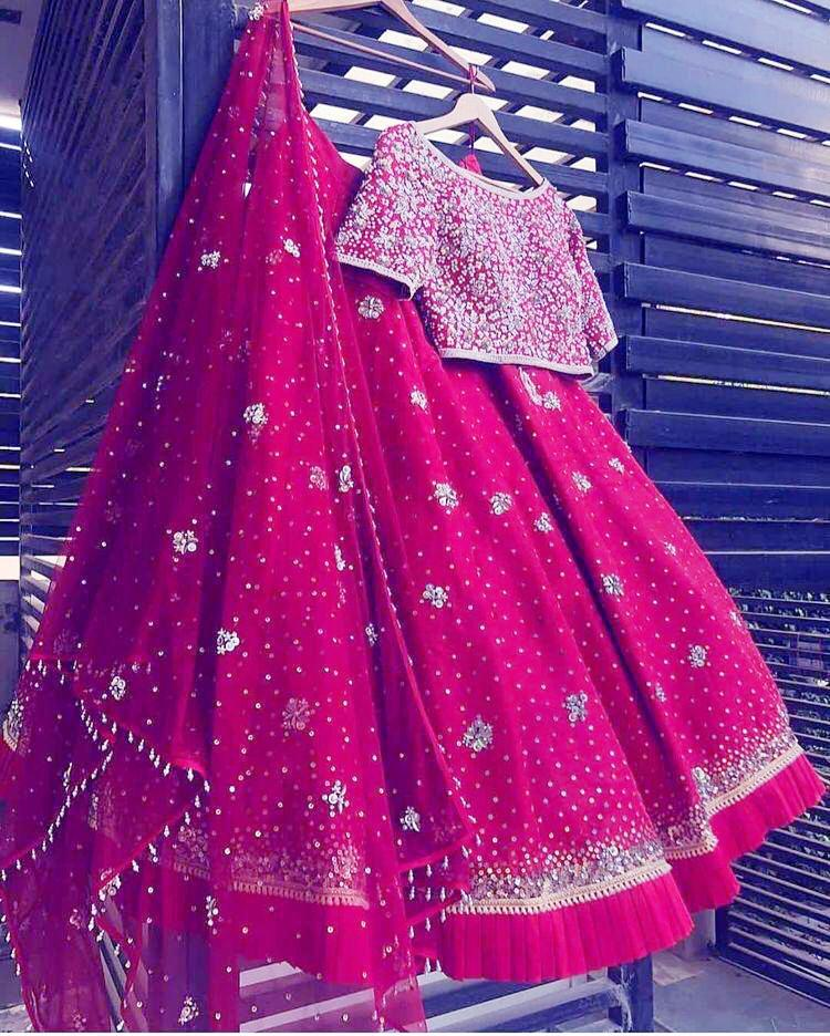 Pink Taffeta Silk Embroidered Party Wear Latest Lehenga Choli Designs