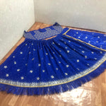 Blue Taffeta Silk Embroidered Party Wear Beautiful Lehenga With Price