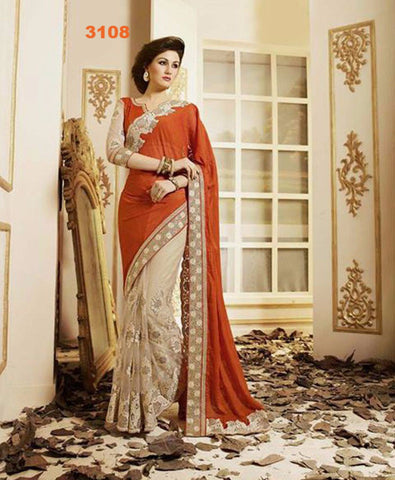 Orange Beige Chiffon & Net Bollywood Clothes Online ,Indian Dresses - 1