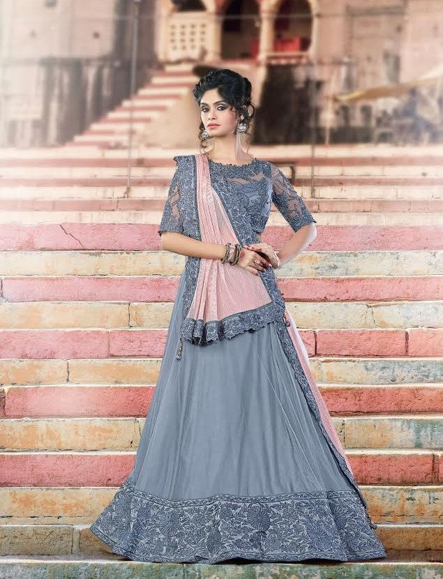 Fine Dove Grey Latest Lehenga Choli Online Shopping ,Indian Dresses - 1