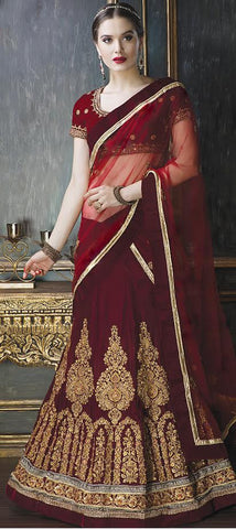 Maroon Velvet Buy Online Bollywood Lehenga Choli
