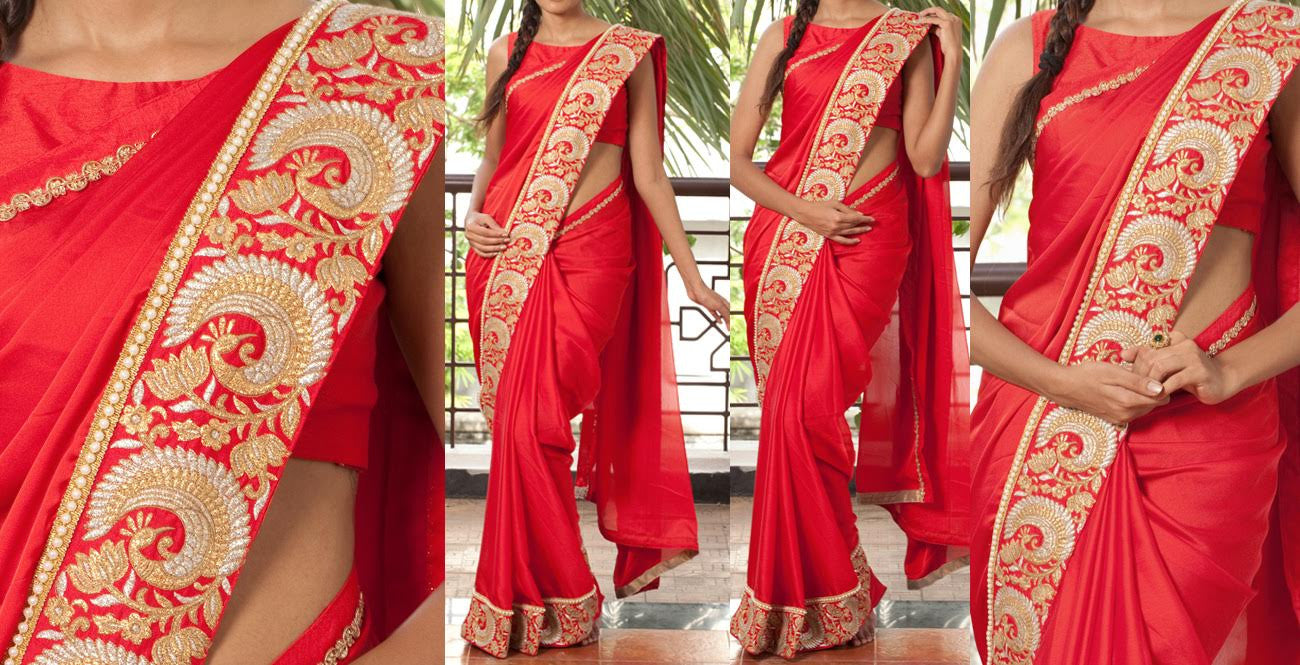 New Red Georgette Bollywood Sarees India Online ,Indian Dresses - 1