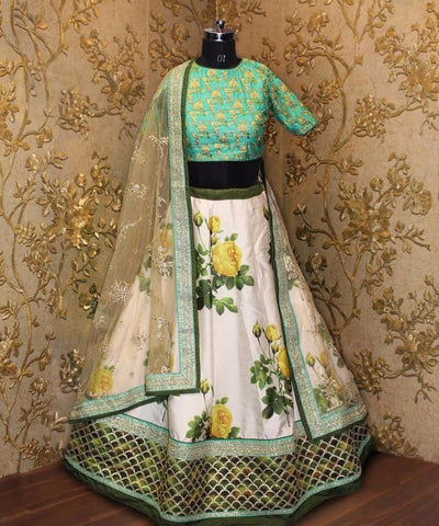 Sea Green And Floral Print Designer Lehenga Online Shopping India