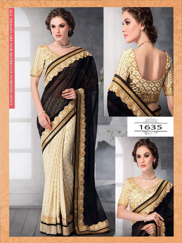 Black And Off White Bollywood Designer Sarees Online Shopping ,Indian Dresses - 1