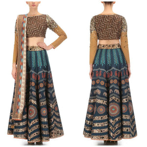Blue Printed Bollywood Lehenga Choli Online Shopping