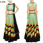 Mint Green Silk Sequins Embroidery Bollywood Lehengas ,Indian Dresses - 1
