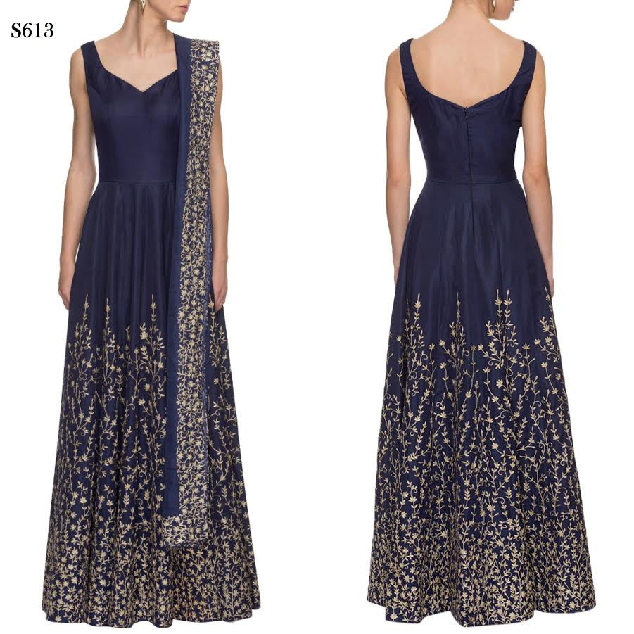 Navy Blue & Gold Embroidered Bollywood Anarkali ,Indian Dresses - 1 ...
