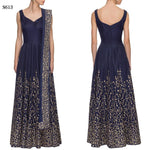 Navy Blue & Gold Embroidered Bollywood Anarkali ,Indian Dresses - 1
