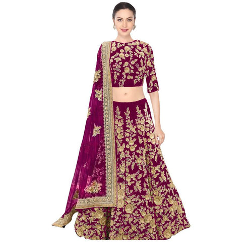 Magenta Designer Indian Bollywood Lehenga For Wedding