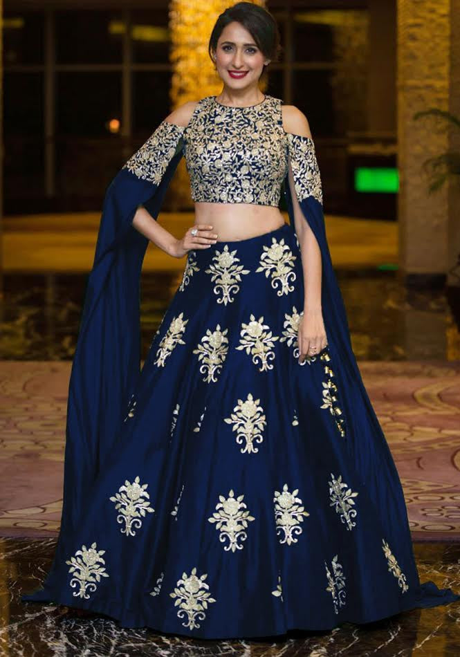Navy Blue Embroidered Cold Shoulder Bollywood Lehenga Choli
