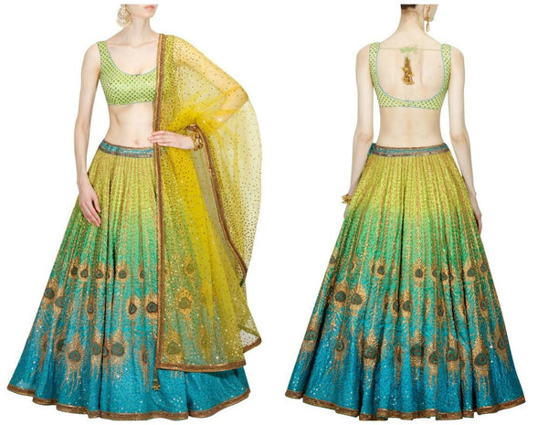 Blue And Green Shaded Artwork Designer Lengha Choli ,Indian Dresses - 1