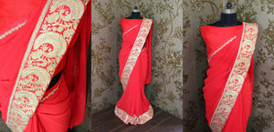 New Red Georgette Bollywood Sarees India Online ,Indian Dresses - 2
