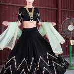 Black Chevron Triangles With Crop Top Style Indian Lehnga Dress