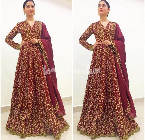 Maroon Embroidered Bollywood Anarkali Salwar Kameez Shop