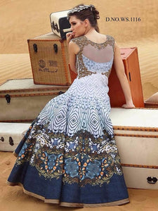 Elegant White And Blue Silk Digital Printed Online Bollywood Gown Shopping ,Indian Dresses - 1