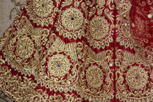 Maroon Velvet Silk Machine Embroidery Bollywood Wedding Lenghas