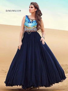 Navy Blue Digital Print Silk and Georgette Beautiful Gown Online ,Indian Dresses - 1