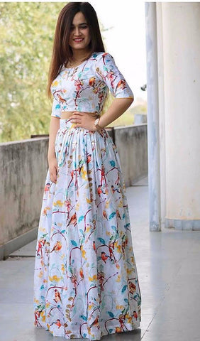 Multi Color Printed Rayon  Bollywood Lehenga Replicas