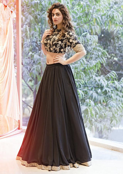 Black Art Silk Latest Party Wear Lehenga Online