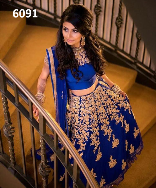 Blue Net Indian Bollywood Lehenga Choli Online Shopping