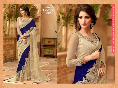Chic Blue And Beige Bollywood Designer Saree ,Indian Dresses - 1