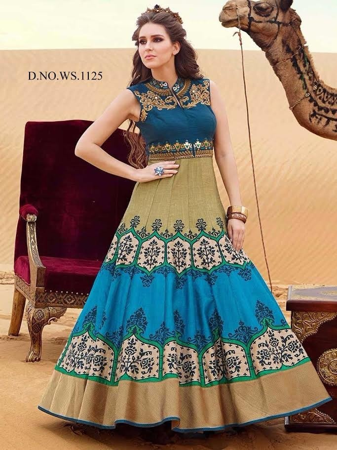 Blue And Beige Digital Printed Indo Western Gown Buy Online ,Indian Dresses - 1