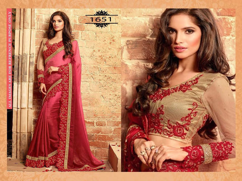 Shaded Red Nylon Chiffon Bollywood Designer Sarees Online ,Indian Dresses