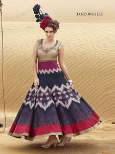 Multi Color Printed Bhagalpuri Indo Western Dress Online Shopping ,Indian Dresses - 1