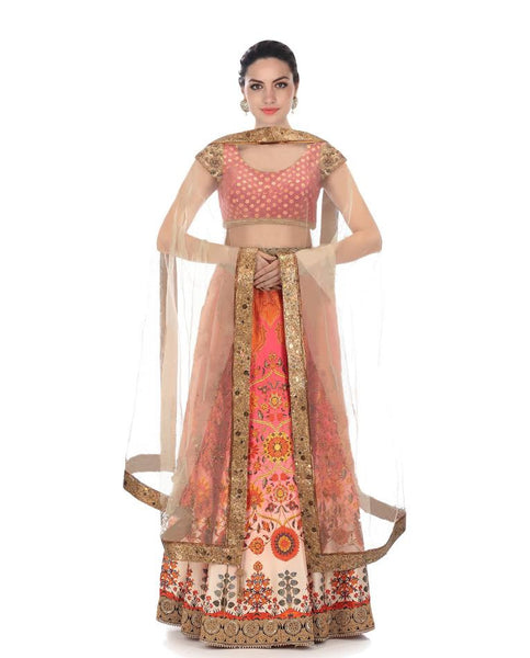 Floral Printed Satin Bollywood Lehenga Designs
