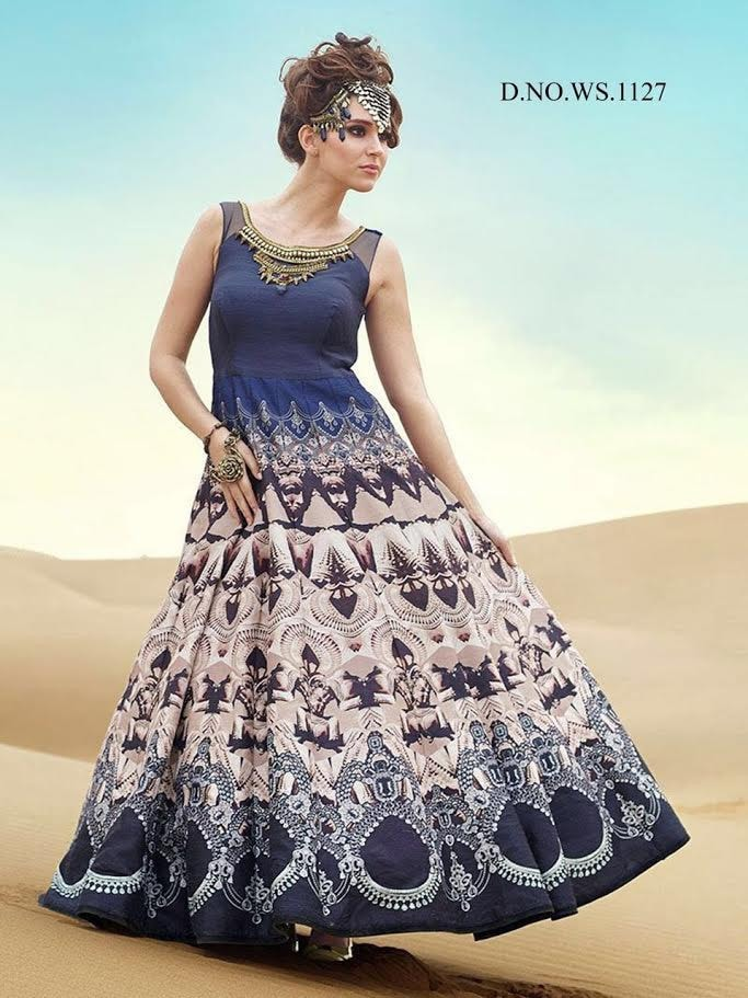 Blue and Beige Printed Online Shopping For Designer Gown ,Indian Dresses - 1
