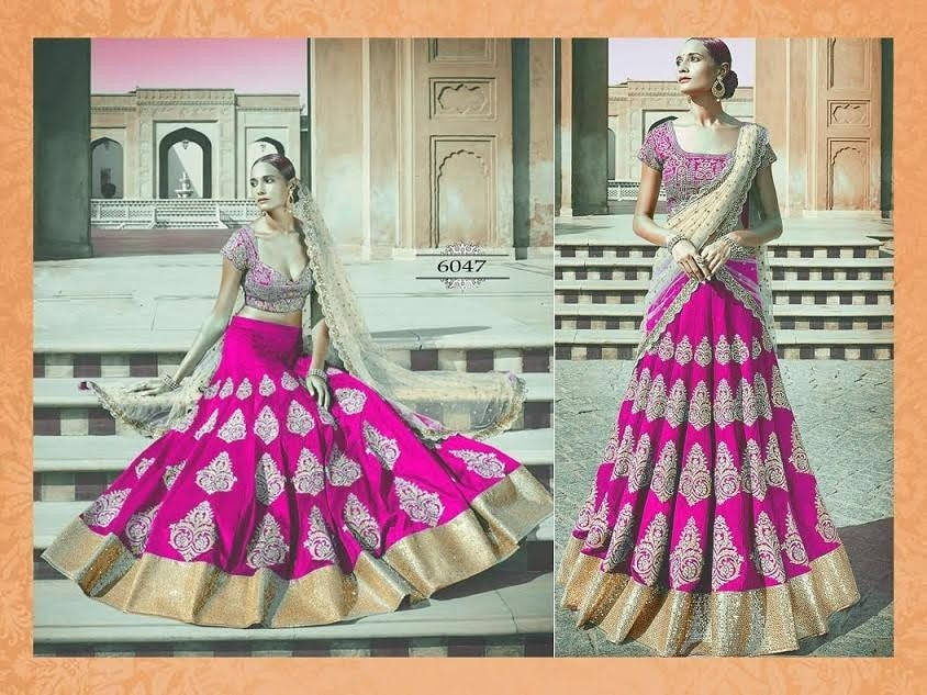 Pink And Gold Bollywood Replica Lehengas Online ,Indian Dresses - 1