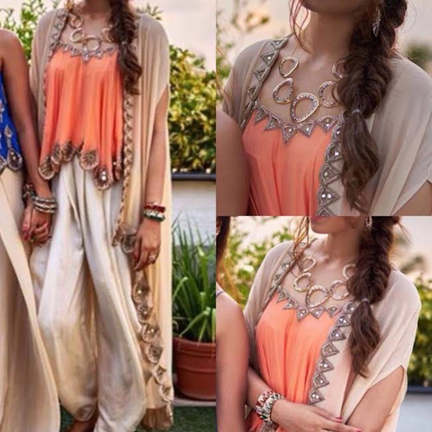 Peach Dhoti Style Bollywood Dress. ,Indian Dresses - 1