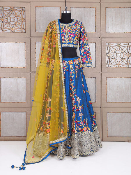 Yale Blue Raw Silk Embroidered Latest Wedding Lehenga Designer India Online
