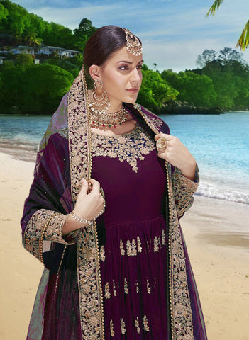 Wine Embroidered Georgette Anarkali New Design In Salwar Kameez