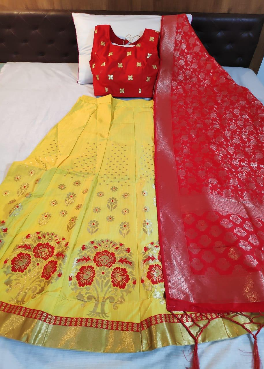 Yellow Banarasi Brocade Party Wear Best Lehenga Designs Online