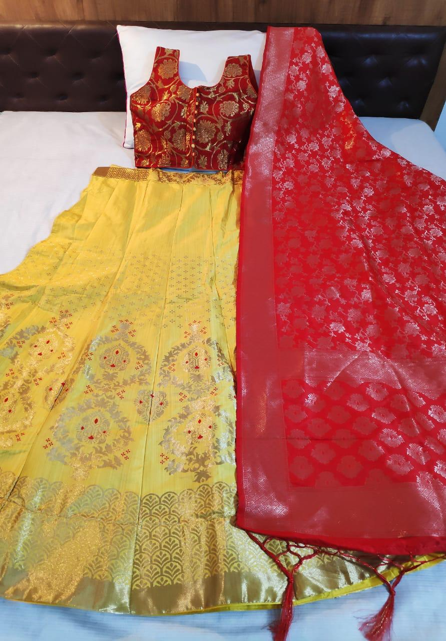 Yellow Banarasi Brocade Latest Indian Lehengas Online Shopping