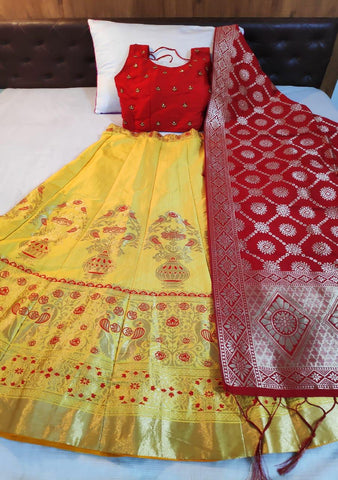 Yellow Banarasi Brocade Party Wear Lehenga Online Shopping